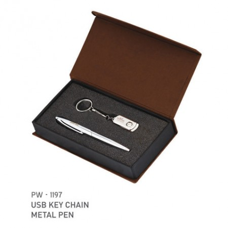 Giftsuncommon - Silver Metal Pen And USB Key Chain