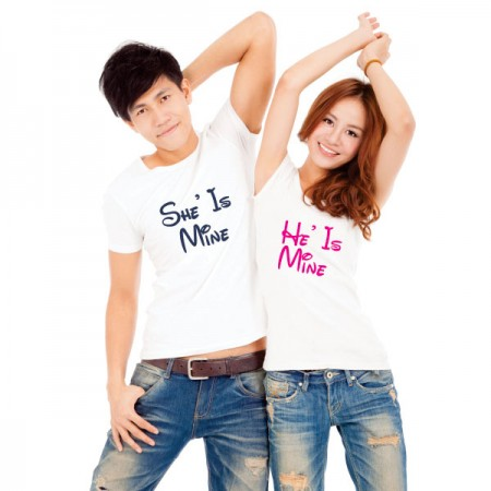Giftsuncommon - He/She Mine  Printed Couple T Shirt