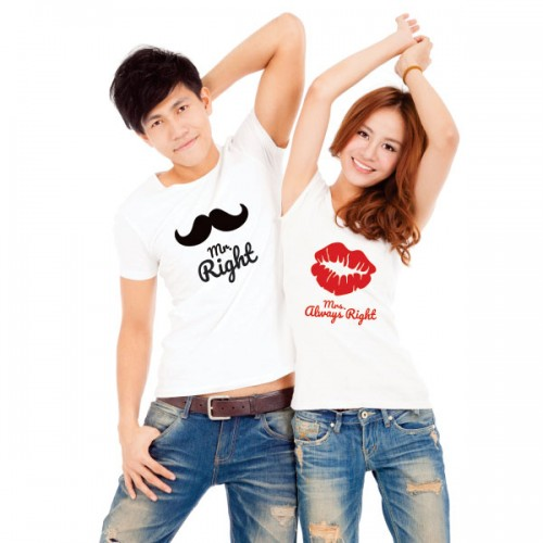 Giftsuncommon - Mr Right Printed Couple T Shirt