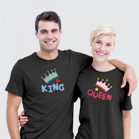 Giftsuncommon - Printed Black Couple T Shirt