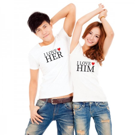 Giftsuncommon - Love Him/Her Printed Couple T Shirt