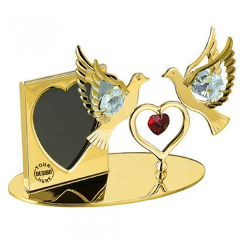 Giftsuncommon - Photo Frame Double Dove Golden Plated