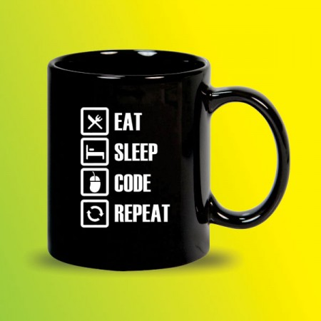 Giftsuncommon - Eat Code Sleep Repeat Black Mugs