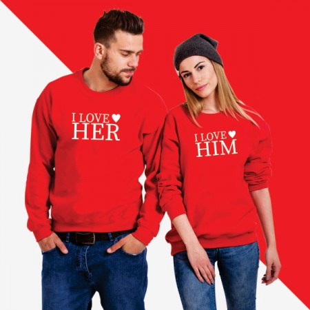 Giftsuncommon - I love Her/Him Printed Couple Sweatshirt