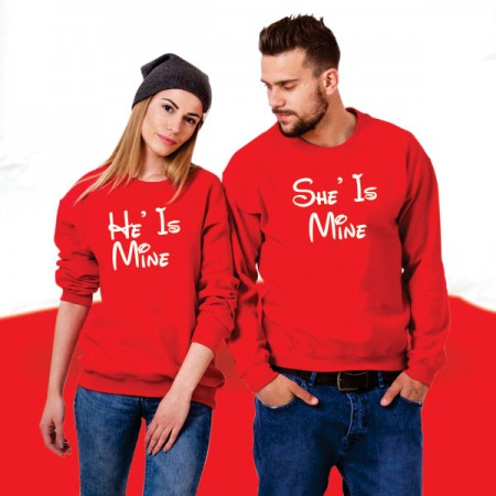 Giftsuncommon - He/She Is Mine Printed Couple Sweatshirt