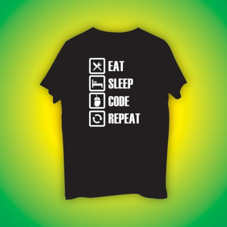 Giftsuncommon - Eat Code Sleep Repeat Black Tshirt